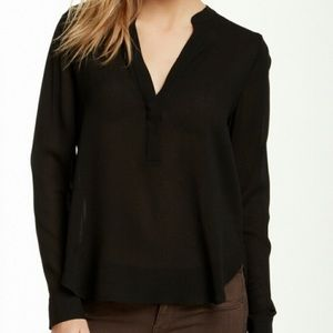 Vince black rayon semi sheer popover blouse